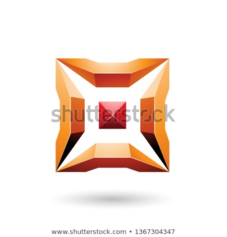 Red and Orange Square with 3d Glossy Pieces Vector Illustration Stock photo © cidepix