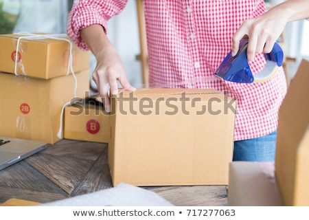prepare online shopping parcel shopping concept young start up stock photo © snowing