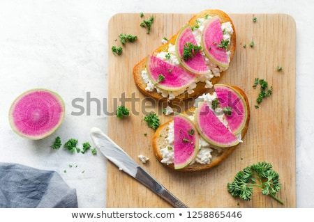 Healthy breakfast toasts from sliced watermelon radish Foto stock © Illia