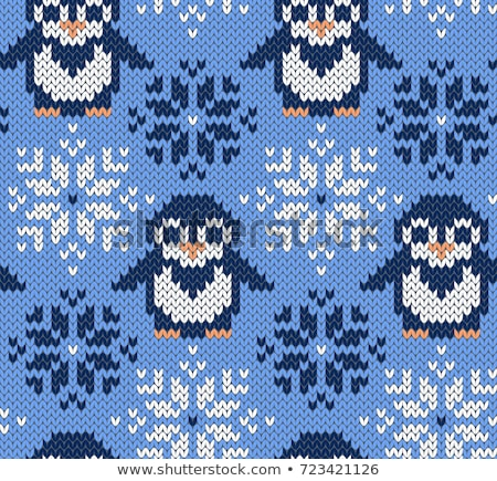 Penguin with Knitted Socks and Sweater, Christmas Foto d'archivio © robuart