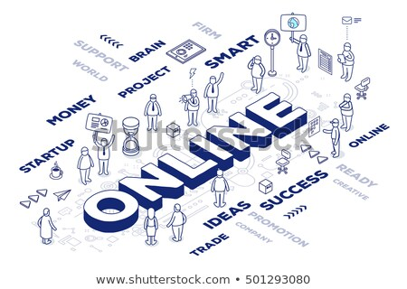 E-commerce - line design style isometric web banner Stock photo © Decorwithme