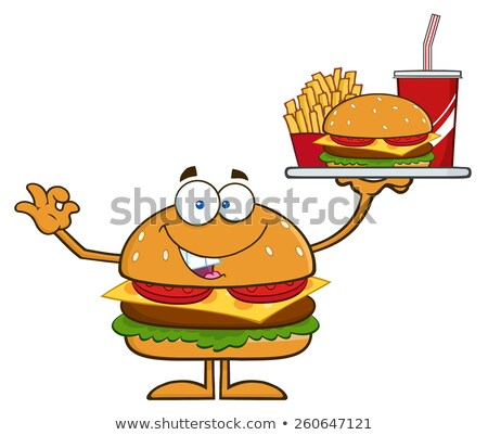american hamburger cartoon character holding a platter with burger french fries and a soda stock photo © hittoon