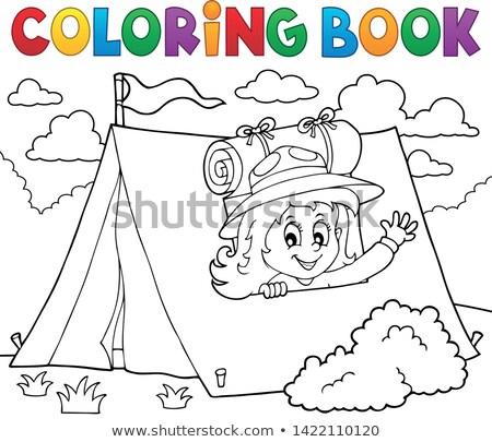 塗り絵の本 スカウト 少女 テント 図書 芸術 ストックフォト © clairev