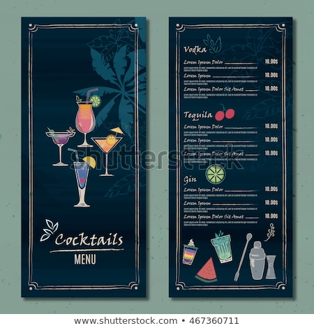 Stockfoto: Drawing Vertical Color Cocktail Menu Design