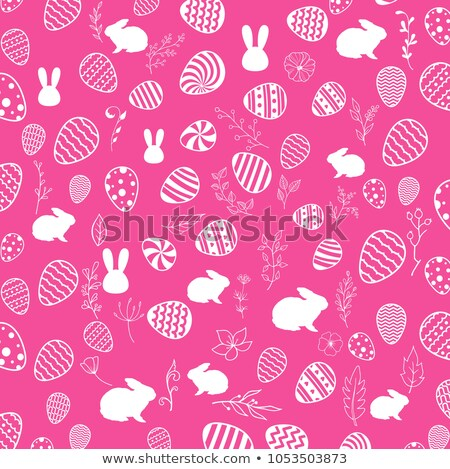 Easter cute patterned bunnies and eggs set Stock photo © marish