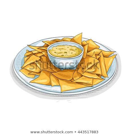 Nachos cor quadro adesivo batatas fritas detalhado Foto stock © netkov1