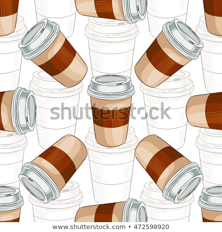 Seamless pattern coffee to go scetch and color Stock photo © netkov1