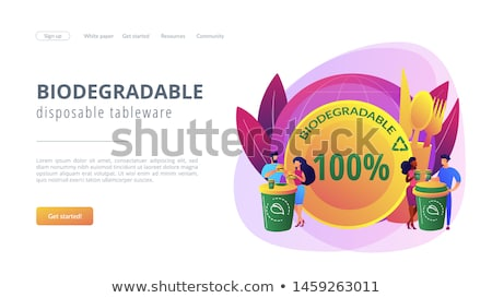Biodegradable disposable tableware concept landing page Stock photo © RAStudio