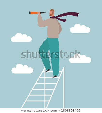 searching male standing on ladder binoculars stock photo © robuart