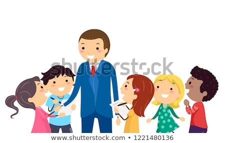 Stickman Kids Interview Professional Illustration Stock photo © lenm