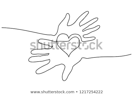 Continuous line art drawing. Couple of hearts symbolize love. Abstract hearts woman and man. Vector  Stock photo © ESSL