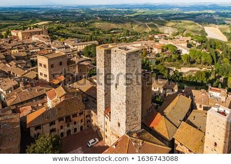 eski · taş · towers · Toskana · İtalya · görmek - stok fotoğraf © borisb17