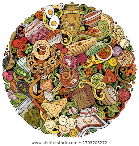 Russian food hand drawn doodles round illustration. Russia cuisine poster Stock photo © balabolka