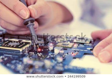 işçi · ölçüm · duvar - stok fotoğraf © lichtmeister