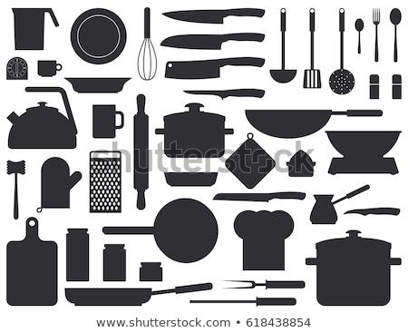 Eldiven mutfak gereçleri tek renkli vektör iç pişirme Stok fotoğraf © pikepicture