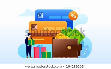 Gift card lądowanie strona szablon promocji strategii Zdjęcia stock © RAStudio