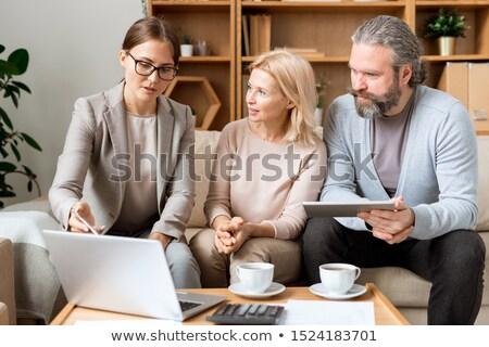 trabalhando · computador · vista · lateral · escritório · negócio - foto stock © pressmaster