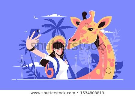 Girafă fată fotografii stil Imagine de stoc © jossdiim