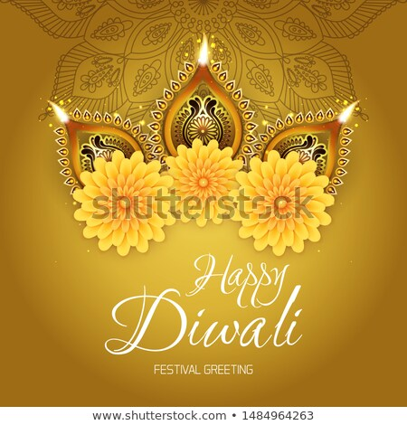 purple diwali background with realistic diya design Stock photo © SArts