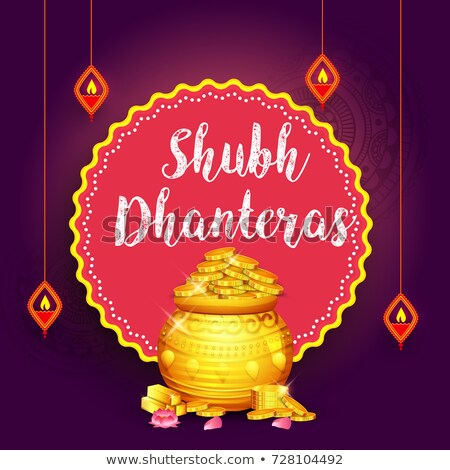 beautiful happy dhanteras festival card with golden pot Stock photo © SArts