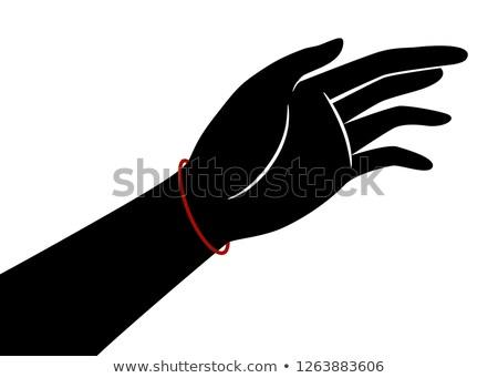 Mână siluetă roşu şir bratara ilustrare Imagine de stoc © lenm