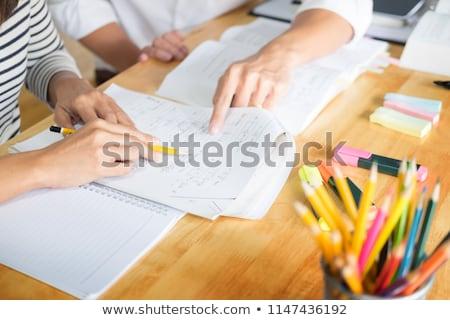 Nauczyciel pomoc studentów pracy komputerów komputera Zdjęcia stock © HighwayStarz