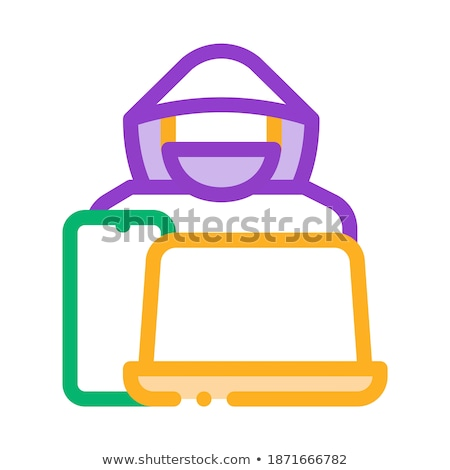 Diefstal technologie laptop smartphone icon vector Stockfoto © pikepicture