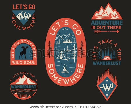 Vintage wanderlust logo, adventure badge. Hand drawn camp label design. Travel expedition insignia.  Stock photo © JeksonGraphics