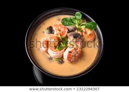 Japanese miso soup with tofu, mushrooms and salmon Stock photo © joannawnuk