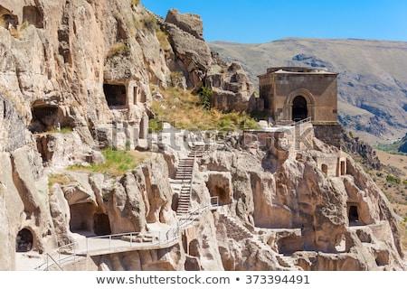 Barlang kolostor Grúzia helyszín déli hegy Stock fotó © borisb17