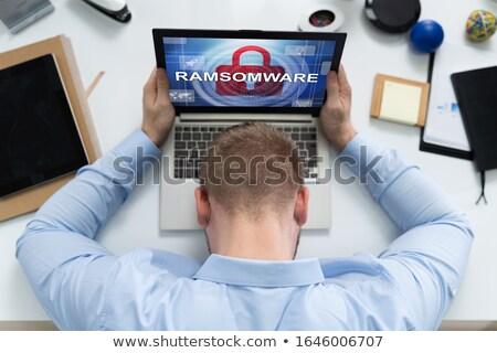 üzücü adam dizüstü bilgisayar enfekte kötü amaçlı yazılım Stok fotoğraf © AndreyPopov