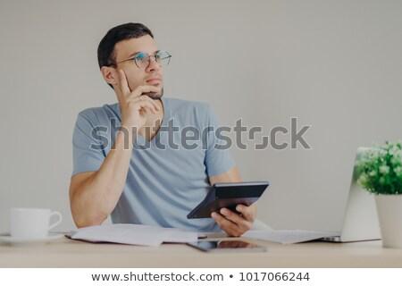 Ernst nachdenklich männlich Gläser Laptop-Computer Stock foto © vkstudio