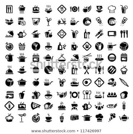 vector set of croissants and plate icons Stock photo © freesoulproduction