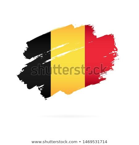 Belgium flag and hand on white background. Vector illustration Stock photo © butenkow