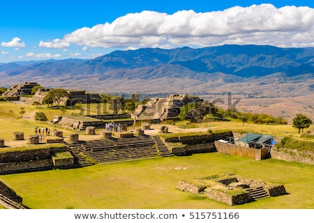 Stockfoto: Ancient Ruins On Plateau Monte Alban In Mexico