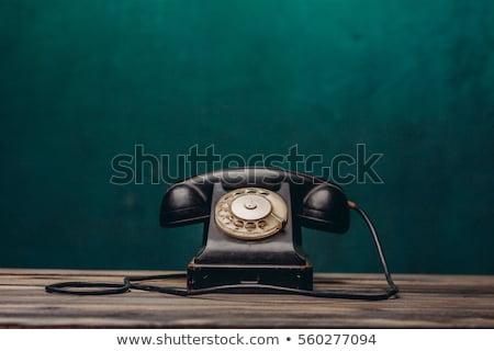 vintage · zwarte · antieke · telefoon · houten · bureau - stockfoto © hofmeester