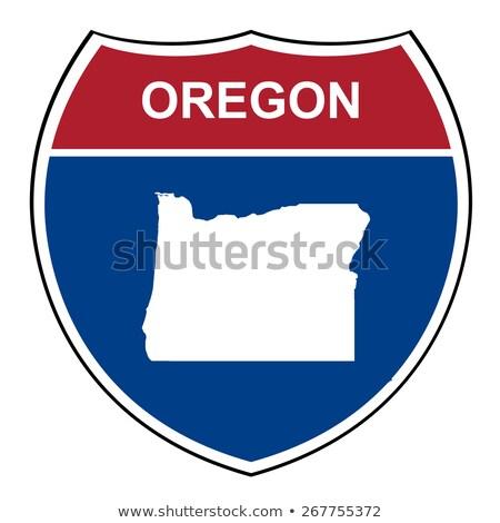 Oregon autópálya tábla zöld felhő utca felirat Stock fotó © kbuntu