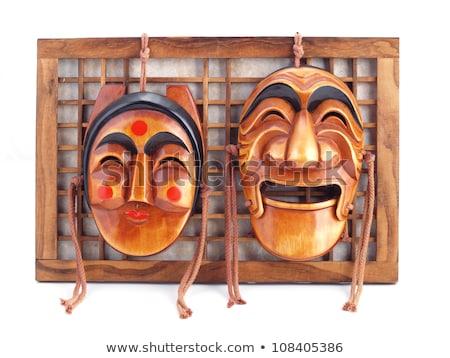 geleneksel · erkek · ahşap · maske · siyah · yüz - stok fotoğraf © eh-point