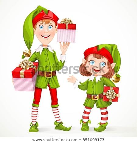 Happy christmas santa helper girl. Stock photo © Kurhan