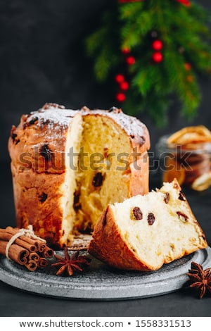 Italiaans · christmas · cake · fruitcake · geserveerd · Blauw - stockfoto © aladin66