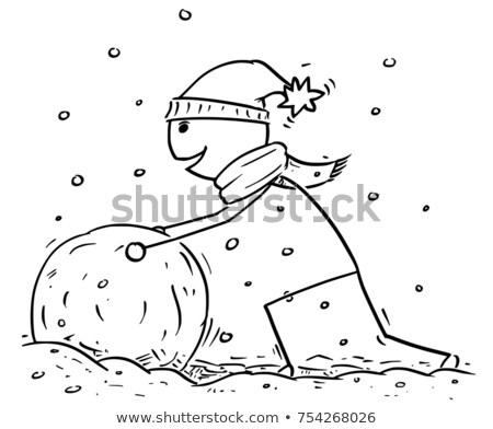 tekening · sneeuwbal · kinderen · borstel · papier · achtergrond - stockfoto © romvo