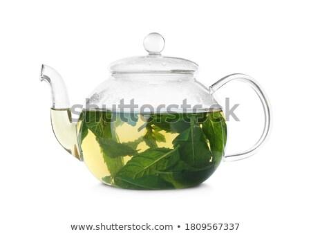 Chá verde branco copo verde beber Foto stock © yoshiyayo