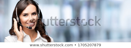 gyönyörű · lány · fejhallgató · segélyvonal · lány · mosoly · szépség - stock fotó © goce