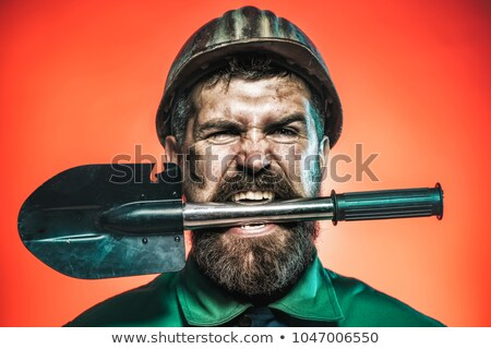 çılgın · adam · İngiliz · anahtarı · kask · mutlu · inşaat - stok fotoğraf © photography33