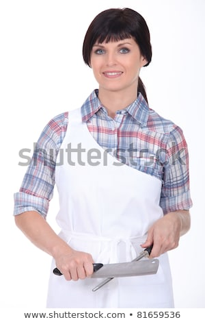 female chef stood with knife and sharpener stock photo © photography33