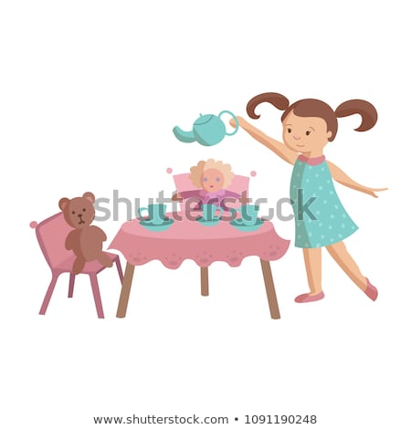 little girl playing at tea party Stock photo © photography33