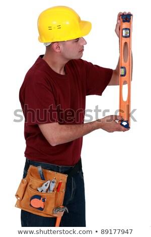 建設作業員 · 垂直 · レベル · ツール · 建設 · 壁 - ストックフォト © photography33