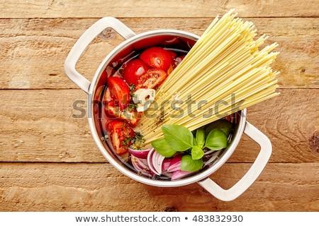 Lábas hozzávaló étel fehér ebéd spagetti Stock fotó © M-studio