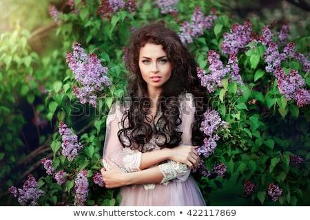 Stockfoto: Sensueel · dame · bloem · muziek · dans · haren