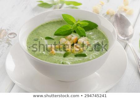 Kom groentesoep crouton groene diner lunch Stockfoto © M-studio